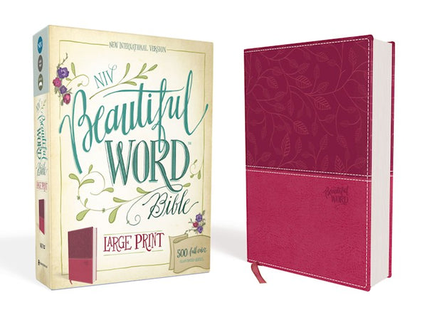 NIV Beautiful Word Bible (Full Color)/Large Print-Pink/Cranberry Leathersoft 500 Full-Color Illustrated Verses