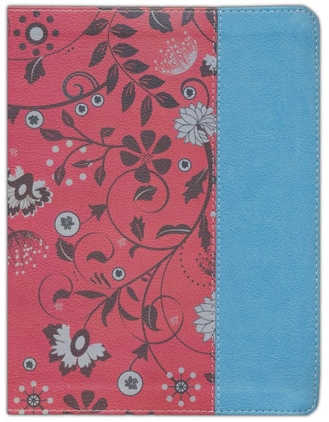 NIV Beautiful Word Coloring Bible For Teen Girls-Cranberry/Blue Leathersoft Hundreds Of Verses To Color