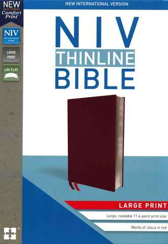 NIV Thinline Bible/Large Print (Comfort Print)-Burgundy Bonded Leather