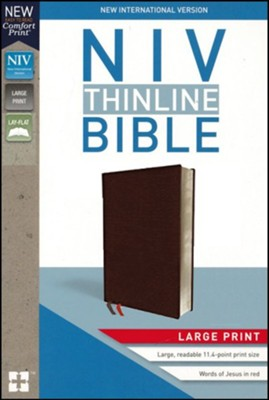 NIV Thinline Bible/Large Print (Comfort Print)-Burgundy Bonded Leather Indexed
