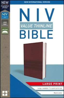 NIV Value Thinline Bible Large Print Burgundy Imitation Leather with Cross