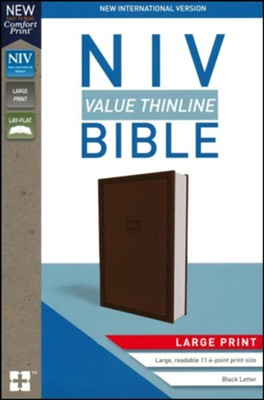NIV Value Thinline Bible Large Print Brown, Imitation Leather with Holy Bible