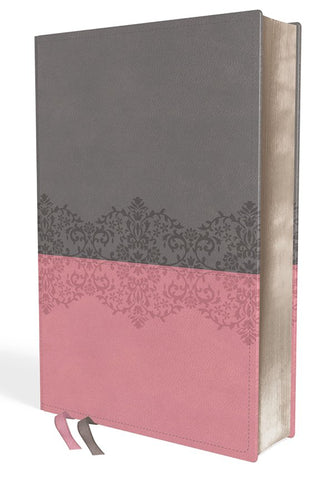 NIV Life Application Study Bible (Third Edition)-Gray/Pink Leathersoft