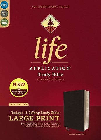 NIV Life Application Study Bible/Large Print (Third Edition)-Black Bonded Leather Indexed