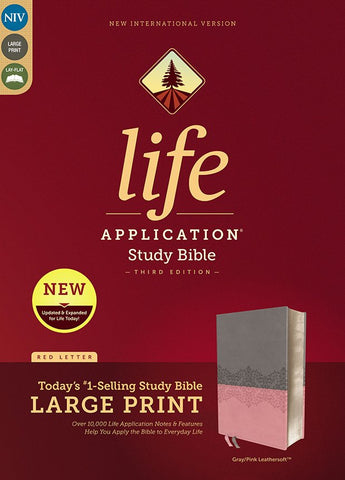 NIV Life Application Study Bible/Large Print (Third Edition)-Gray/Pink Leathersoft Third Edition Indexed