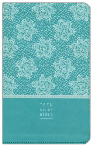 NIV Teen Study Bible Leather Like-Teal w/Lace Duo-Tone