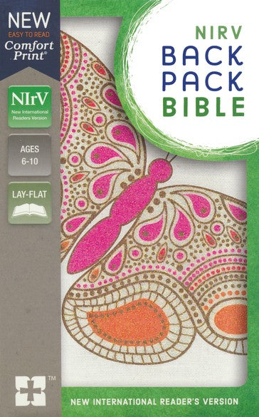 NIrV Backpack Bible-Pink Butterfly Flexcover