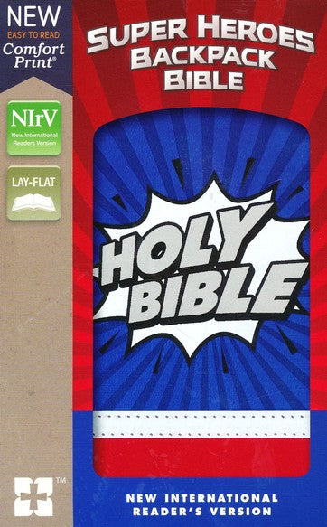 NIrV Super Heroes Backpack Bible (Comfort Print)-Blue/Red Leathersoft
