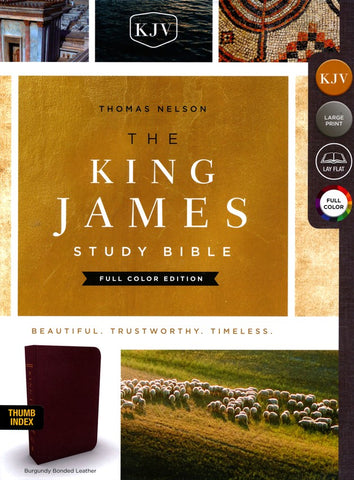 KJV Large Print Study Bible Full-Color Edition, Bonded Leather, Burgundy, Indexed