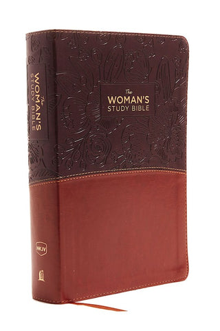 NKJV Large Print Woman's Study Bible (Full Color)-Brown/Burgundy Leathersoft