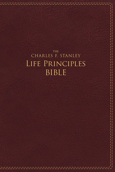 NIV, The Charles F. Stanley Life Principles Bible, Imitation Leather, Burgundy, Indexed