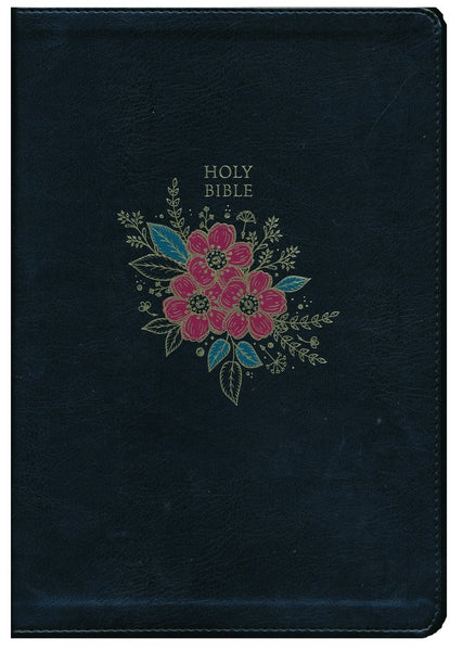 KJV Super Giant Print Reference Bible (Comfort Print)-Black Deluxe Floral Leathersoft Indexed