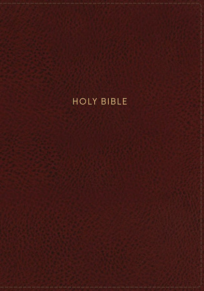 NKJV Giant Print Center-Column Reference Bible (Comfort Print)-Burgundy Leather-Look Indexed