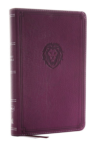 NKJV Thinline Bible/Youth Edition (Comfort Print)-Berry Leathersoft Lion