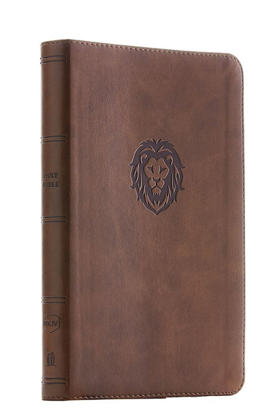 NKJV Thinline Bible/Youth Edition (Comfort Print) - Brown Leathersoft Lion