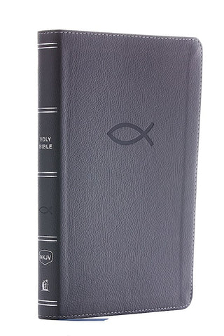 NKJV Thinline Bible/Youth Edition (Comfort Print) - Grey Leathersoft Fish Emblem