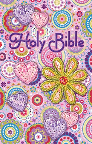Pink Flower Sequin Children's Bible ICB