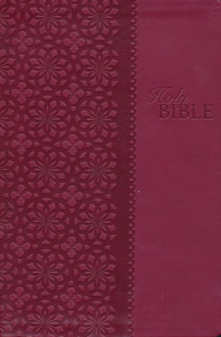 KJV Large Print Study Bible (Second Edition)-Cranberry LeatherSoft Indexed Second Edition