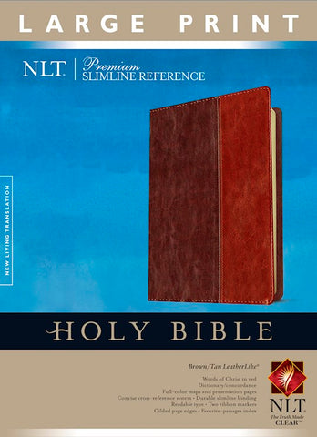 NLT Premium Slimline Reference/Large Print Bible-Brown/Tan TuTone