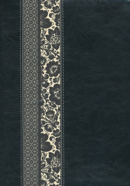 NLT Study & Life Application Parallel Study Bible Tutone Black Ornate Floral Fabric Indexed