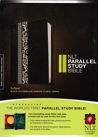 NLT Life Application Study Bible-Black/Floral TuTone