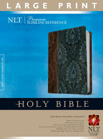 NLT Premium Slimline Reference/Large Print Bible-Dark Brown/Blue TuTone