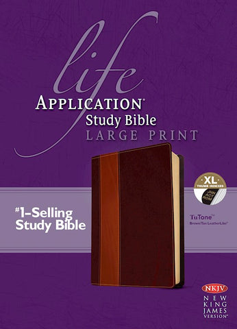 NKJV Life Application Study Bible/Large Print-Brown/Tan TuTone Indexed
