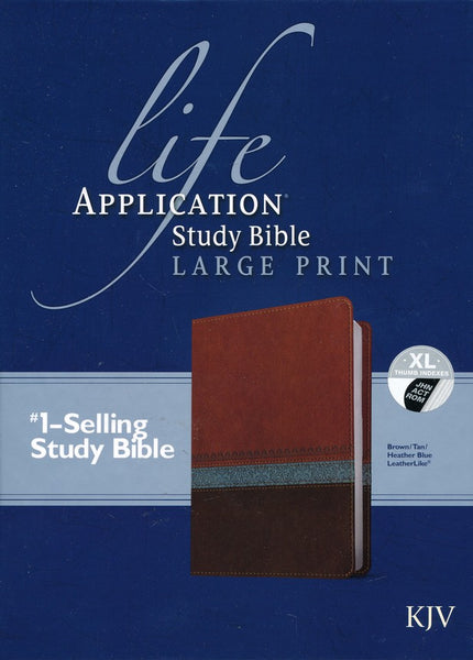 KJV Life Application Study Bible Large Print Imitation Leather Brown/Tan/Heather Blue Indexed