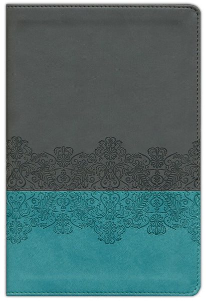 NLT Life Application Study Bible Personal Size TuTone Juniper/Grey Lace