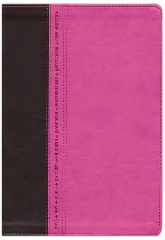 NLT Premium Slimline Reference/Large Print Bible-Pink/Brown TuTone-Fruit of the Spirit Edition