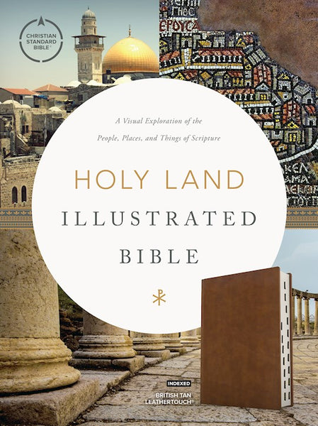 CSB Holy Land Illustrated Bible--soft leather-look, British tan (indexed)