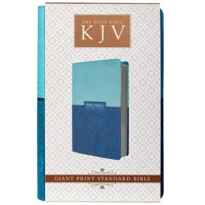 KJV Giant Print Two-Tone Floral/Solid Teal Blue