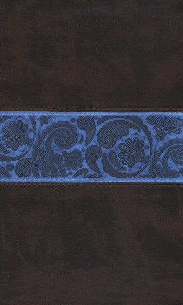 ESV Thinline Bible-TruTone, Chocolate/Blue, Paisley Band