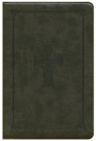 ESV Large Print Personal Size Bible-Olive Celtic Cross Design TruTone