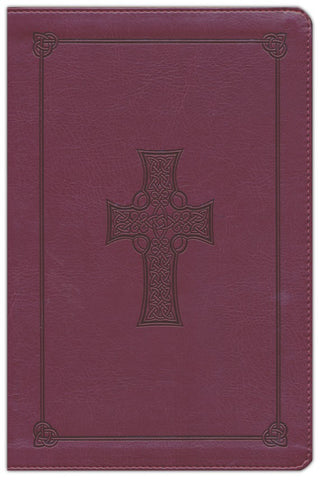 ESV Large Print Thinline Celtic Cross Reference Bible- Burgundy