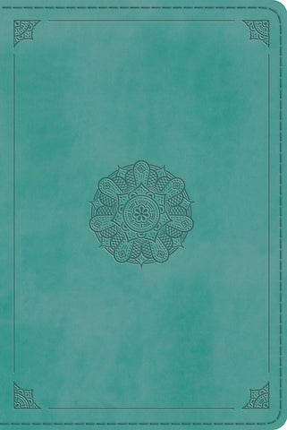 ESV Large Print Value Thinline Bible-Turquoise Emblem Design TruTone