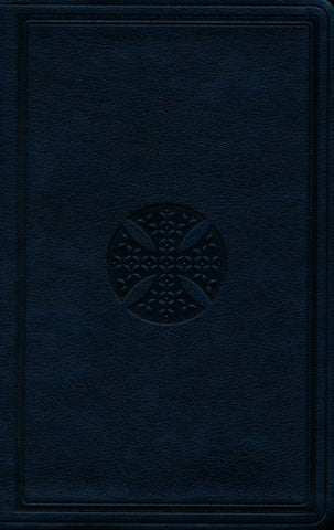 ESV Large Print Value Thinline Bible-Navy Mosaic Cross Design TruTone