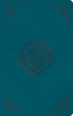 ESV Thinline Bible--soft leather-look, deep teal with rotunda design