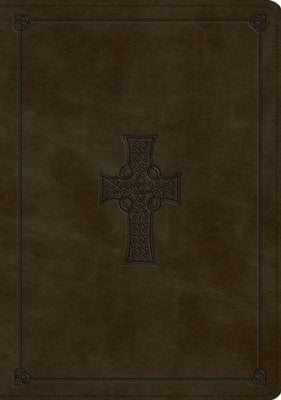 ESV Study Bible-Olive, Celtic Cross Design TruTone Indexed