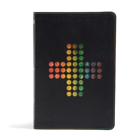 NIV Rainbow Study Bible, Pierced Cross Black LeatherTouch Indexed