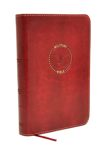 CSB Compact Military Bible, Burgundy LeatherTouch for Marines