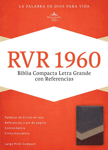 Spanish RVR 1960 Large Print Compact Bible-Soft Leather-Look Brown with Magnetic Flap Indexed
