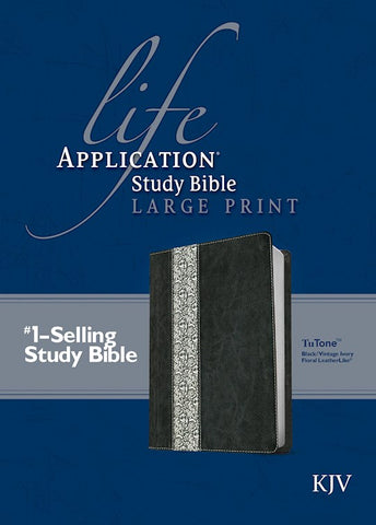 KJV Life Application Study Bible Large Print Black/Vintage Ivory Floral