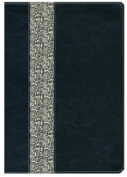 KJV Life Application Study Bible Large Print Black/Vintage Ivory Floral Indexed