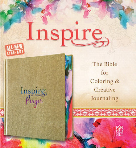 NLT Inspire Prayer Bible-Metallic Champagne Gold LeatherLike The Bible For Coloring & Creative Journaling