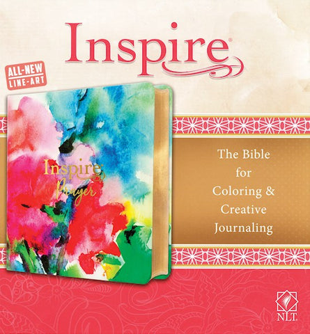 NLT Inspire Prayer Bible-Joyful Colors w/Gold Foil Accents LeatherLike The Bible For Coloring & Creative Journaling