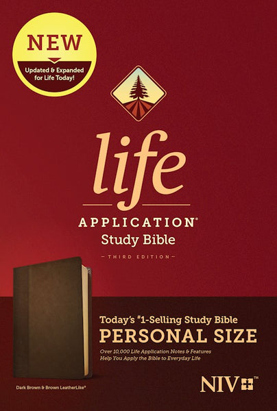 NIV Life Application Personal-Size Study Bible, Third Edition--soft leather-look, dark brown/brown Indexed