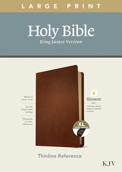 KJV Large Print Thinline Reference Bible/Filament Enabled Edition-Brown Genuine Leather Indexed