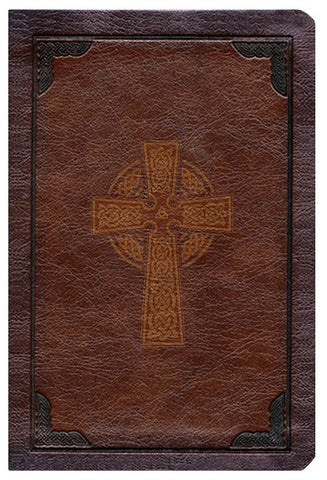 KJV Large Print Compact Reference Bible-Brown Celtic Cross LeatherTouch