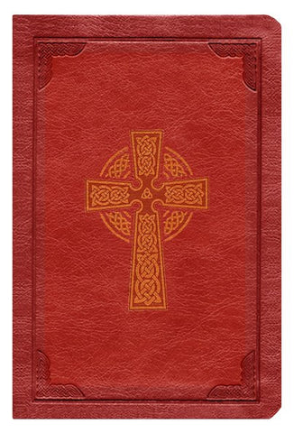 KJV Large Print Compact Reference Bible-Burgundy Celtic Cross LeatherTouch